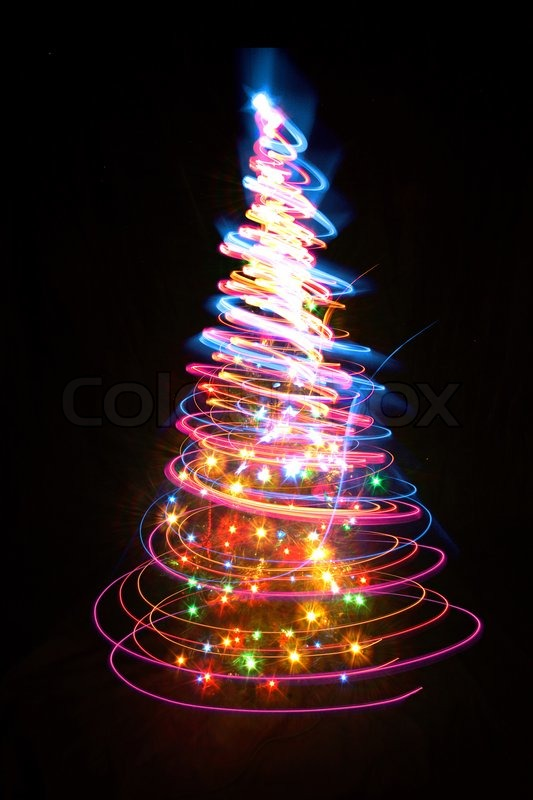 Nice Christmas Tree From The Colors Lights Stock Photo