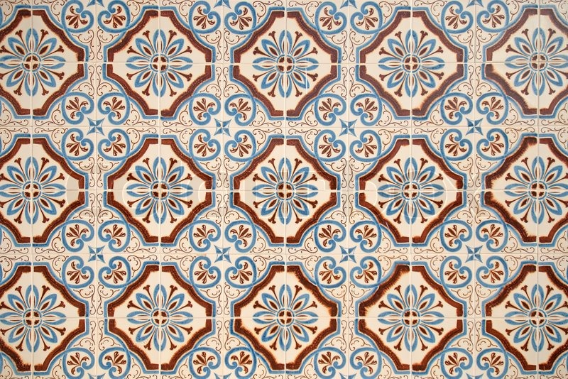 Colorful vintage spanish style ceramic tiles wall