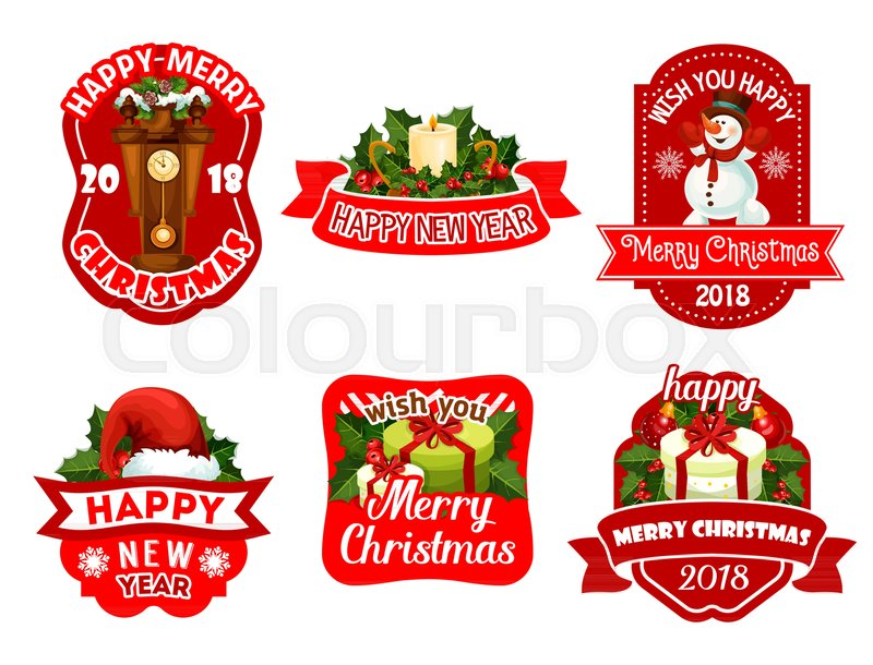 Merry Christmas And Happy New Year Icons For 2018 Greeting