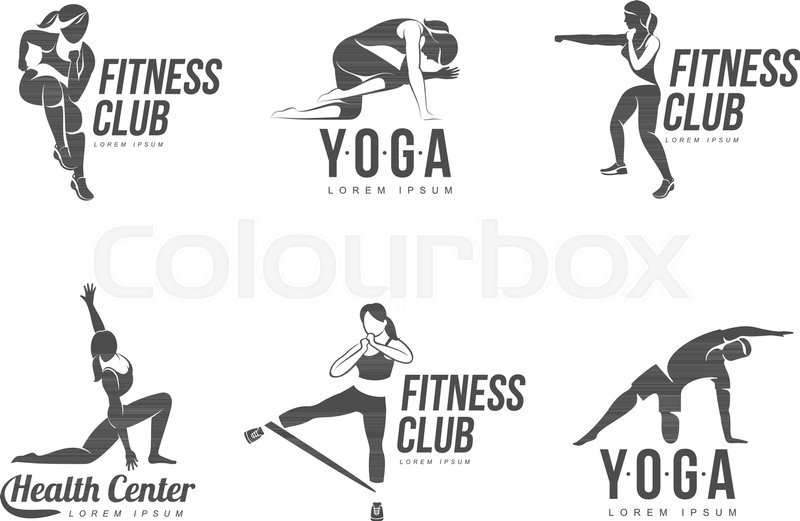 Workout logo. Fitness, Aerobic and workout exercise in gym