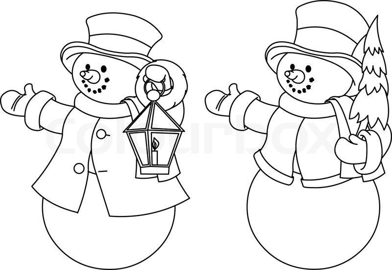 Julen illustration med to sorte og hvide snemænd til