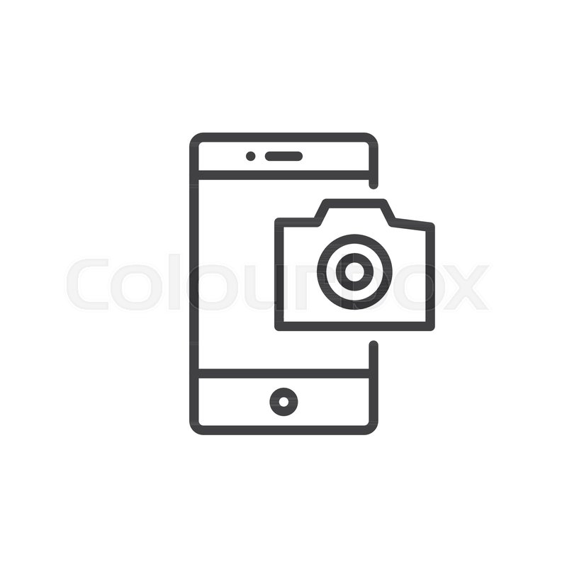 Mobile phone photography camera line icon, outline vector