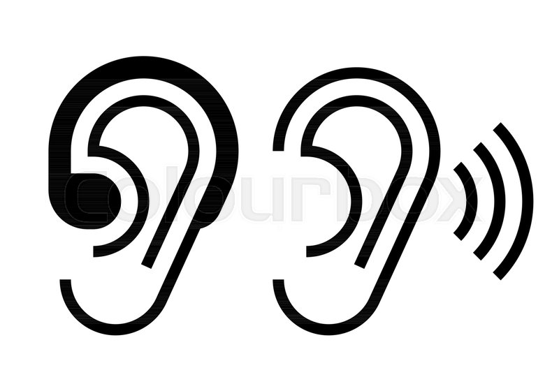 Hearing aid and ear icon. Hearing symbol isolated on white