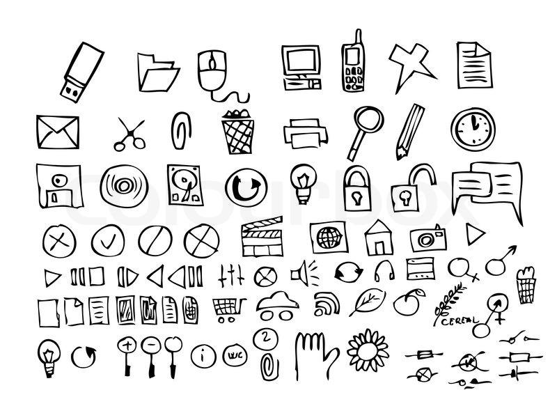 Hand gezeichnet Computer-Icons auf dem weißen Hintergrund