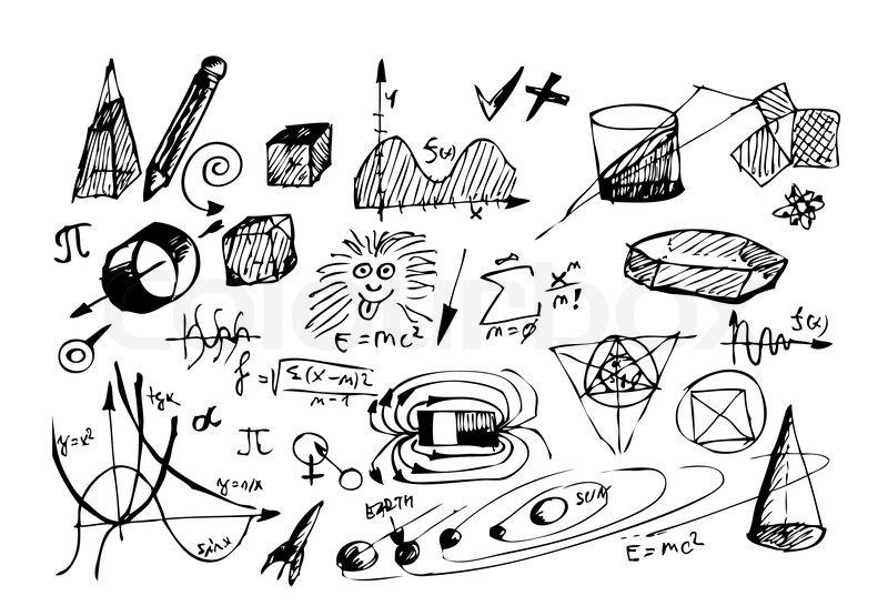 Hand gezeichnet Mathematik und Physik Symbole auf dem
