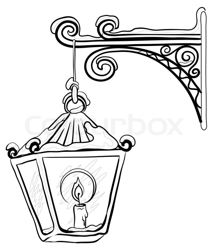 Vintage street lamp glowing in the snow, hanging on a