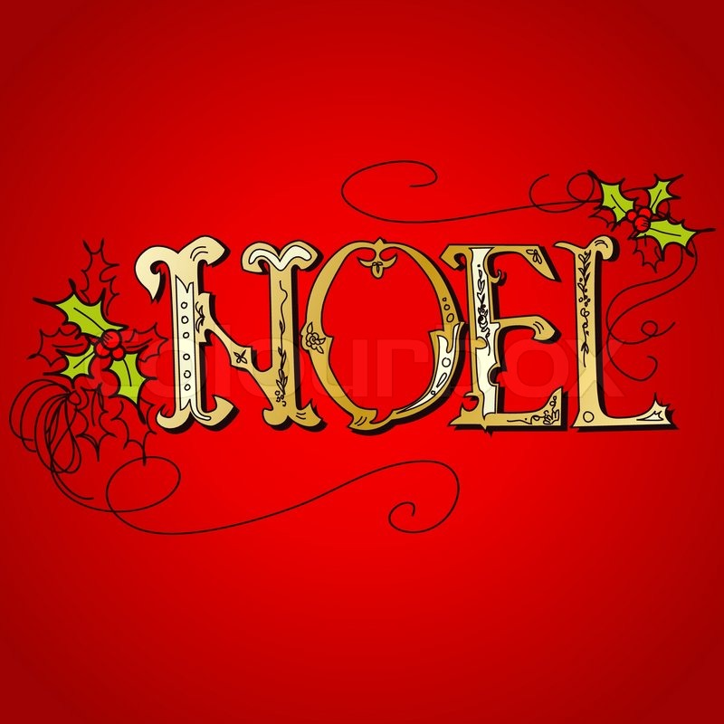 Vintage Christmas Card NOEL Lettering Stock Vector