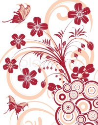 Flower background with butterfly and circle, element for ...