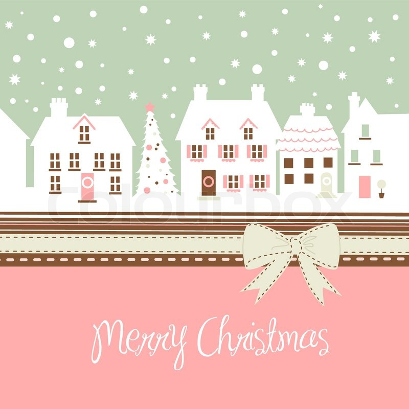 Cute Colour Wallpaper Christmas Card Cute Town At Christmas Time Stock Vector