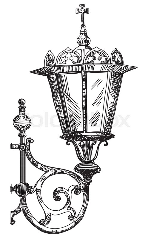 Hand drawing isolated illustration of old street lamp