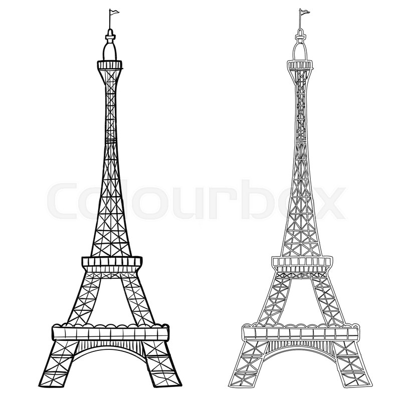 Illustration of Eiffel Tower with two   Stock Vector