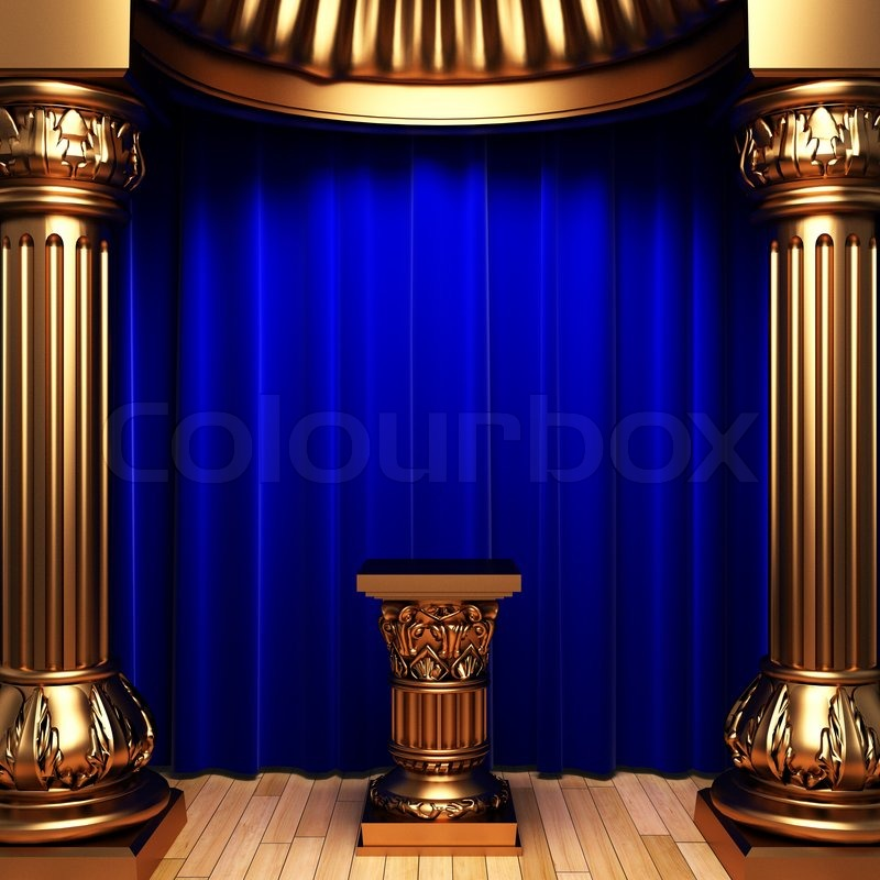 Blue Velvet Curtains Gold Columns And Pedestal Made In 3d