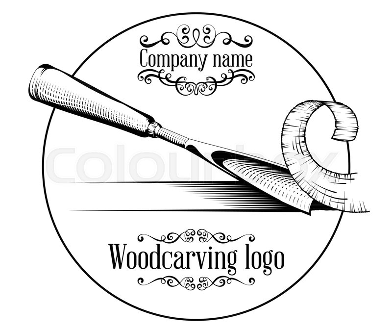 Woodcarving logotype Illustration with a chisel, cutting a