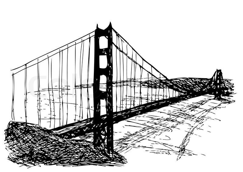 Golden gate bridge isolated on the white background