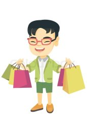 shopping boy bags holding cartoon vector carrying asian happy lot smiling young colourbox