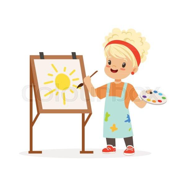 Vector Illustration Of Little Girl . Stock