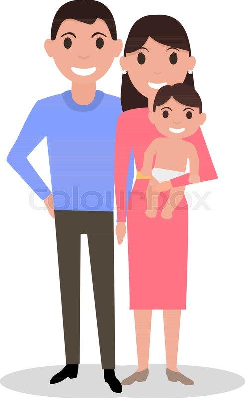 Mother And Father Cartoon : mother, father, cartoon, Vector, Illustration, Cartoon, Stock, Colourbox