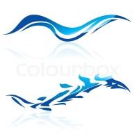 Vector Illustration der abstrakten blauen Wellen auf ...