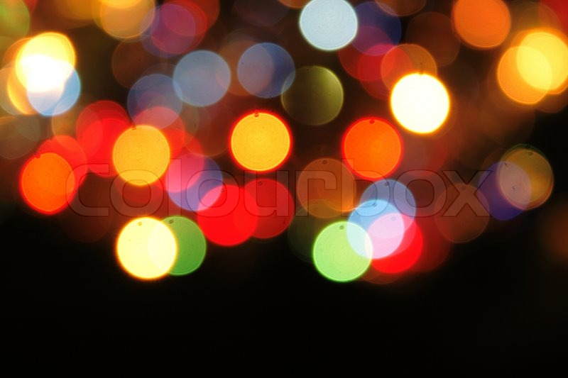 Christmas Background With Color Lights Of Xmas Tree