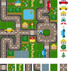 Map / Layout of the streets of a small Stock vector Colourbox