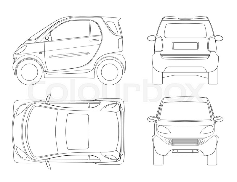 Vector compact small car in outline. Small Compact Hybrid