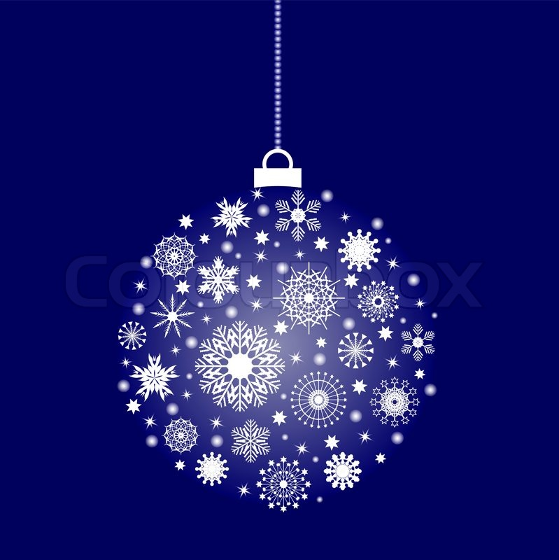 Christmas Festive Ball With A Lot Of Flakes Stock Vector