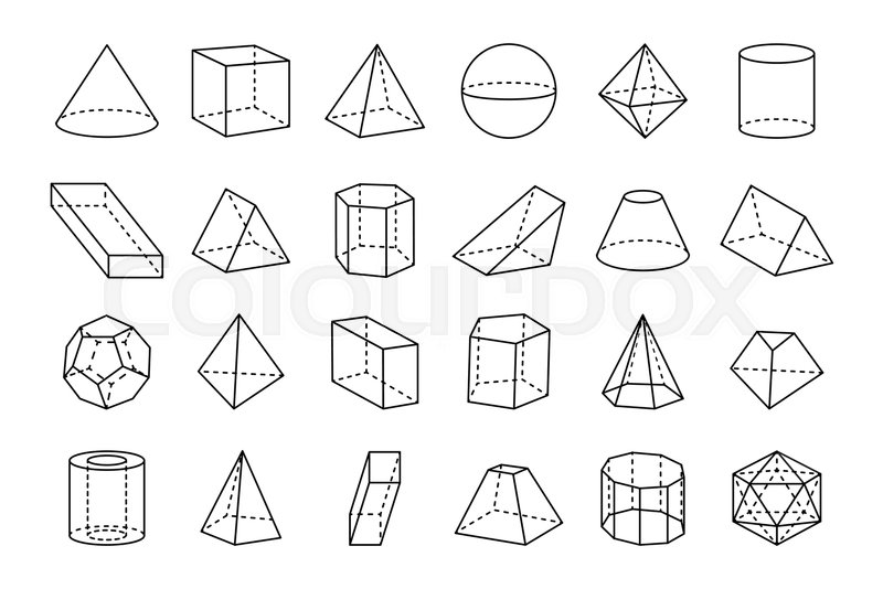 Collection of three dimensional geometric shapes, sketches