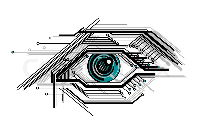 Abstract conceptual tech stylized eye vector illustration