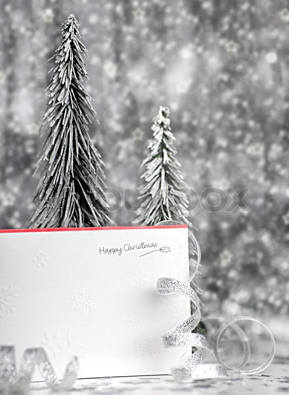 Happy Holiday Christmas Card Background With Blur Lights