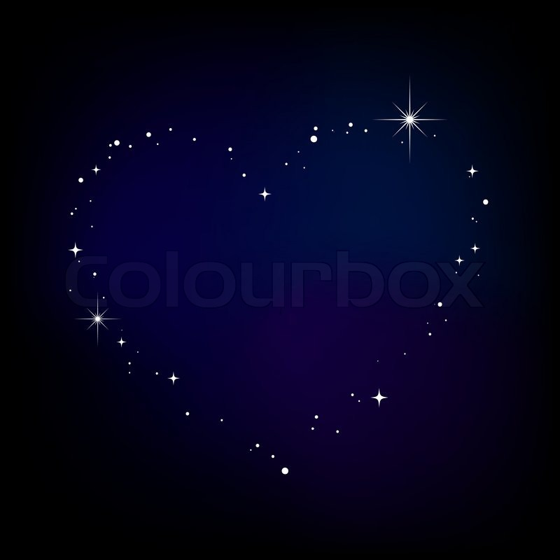Couple Cartoon Wallpaper With Quotes Star Heart In Night Sky Stock Vector Colourbox