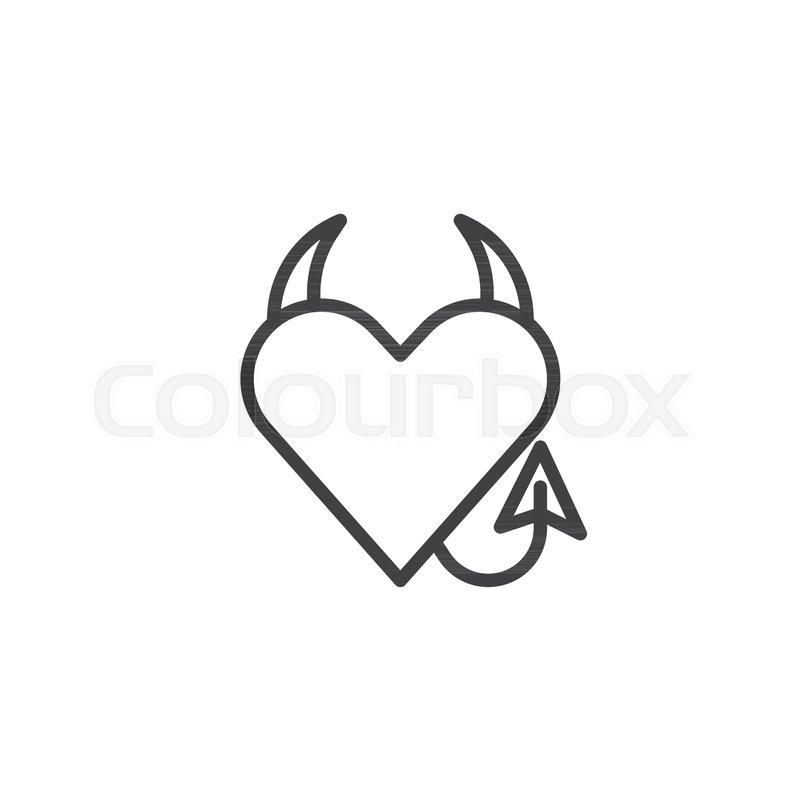 devil heart line icon