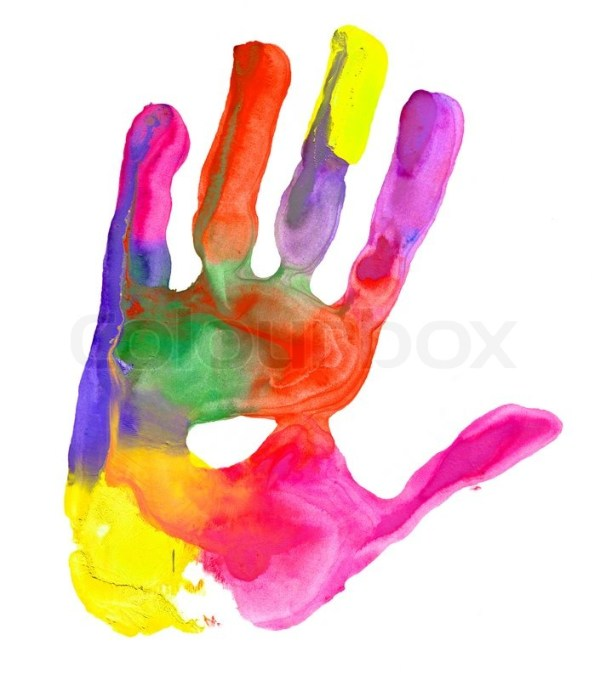 Close up of colored hand print on white background Stock