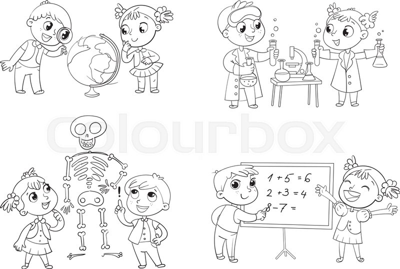 Children in the lesson of geography, chemistry