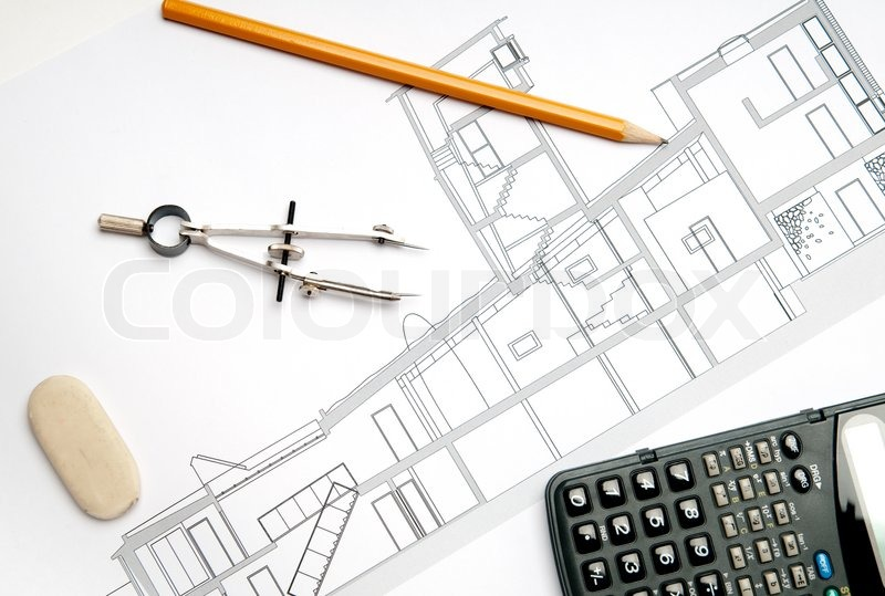 Architecture Blueprint Tools Stock Image Colourbox