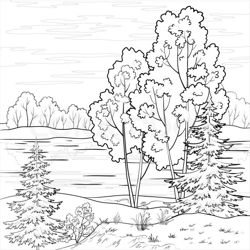 Landschaft: Wald, Fluss und Himmel mit Wolken , Kontur