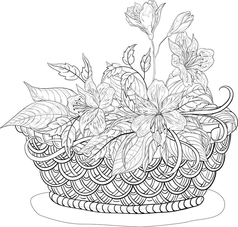 Vector, contours, wattled basket with flowers alstroemeria