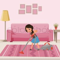 Cheerful teen girl cleaning carpet with vacuum cleaner at ...