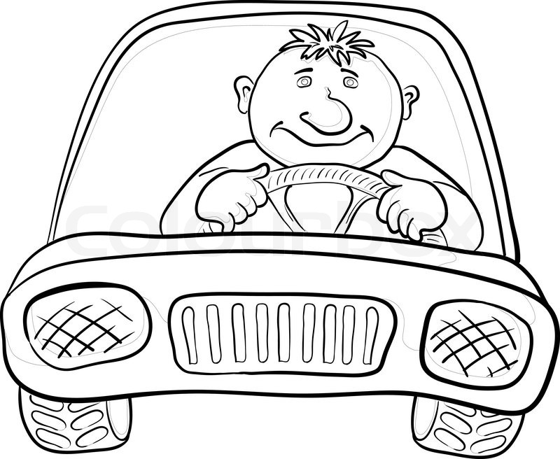 Cartoon, car with a man driver, contours on white Vector