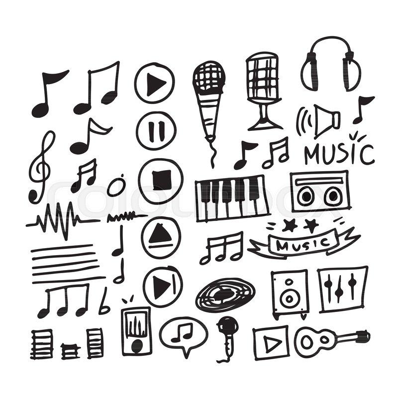 Hand Draw Music Icon Stock Vector Colourbox