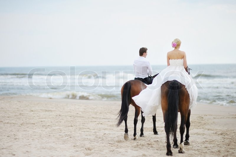 Hochzeit am Strand  Braut und Brutigam auf einem Pferd durch das Meer  Stockfoto  Colourbox
