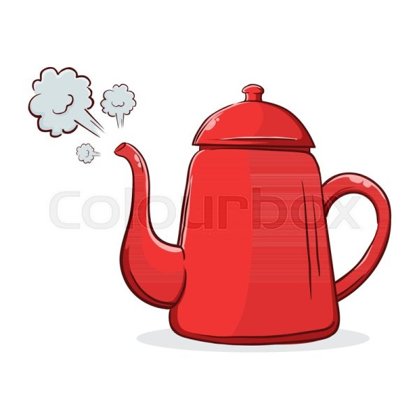 Vector Stock Of Red Boiling Hot Water Kettle With Steam