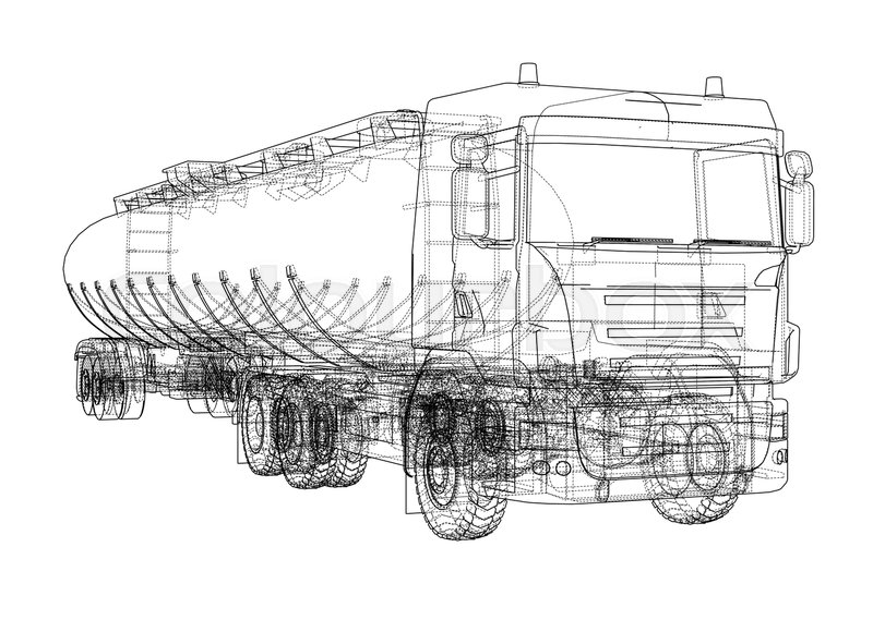 Oil truck sketch illustration. Vector image rendered from