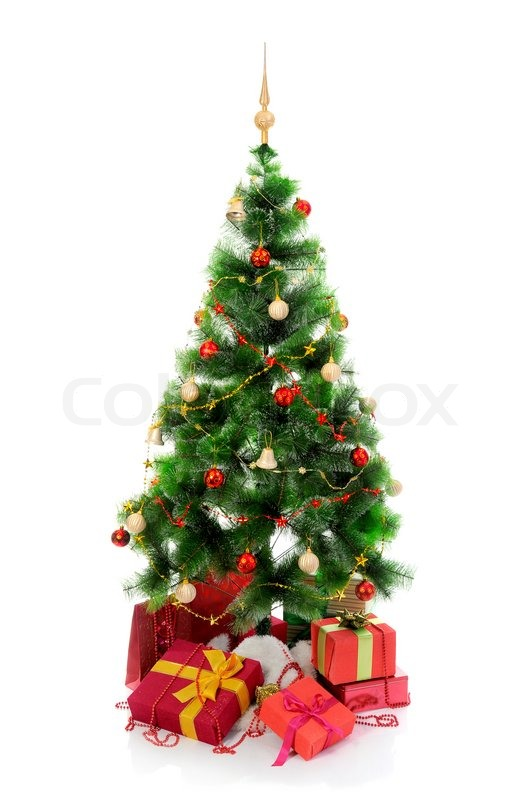 Christmas Tree With Heap Of Red Gift Boxes Decorated