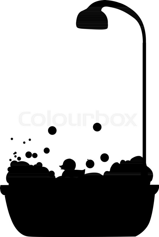 Black Silhouette Of Bathtub With Stock Vector