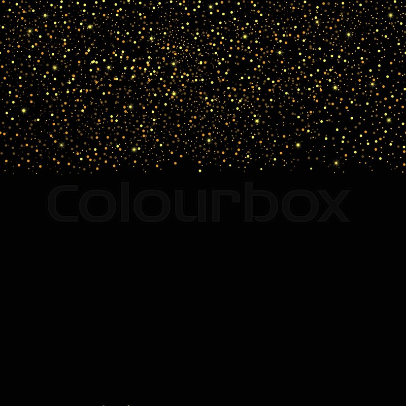 Falling Stars Wallpaper Gold Glitter Seamless Border On Black Background Golden