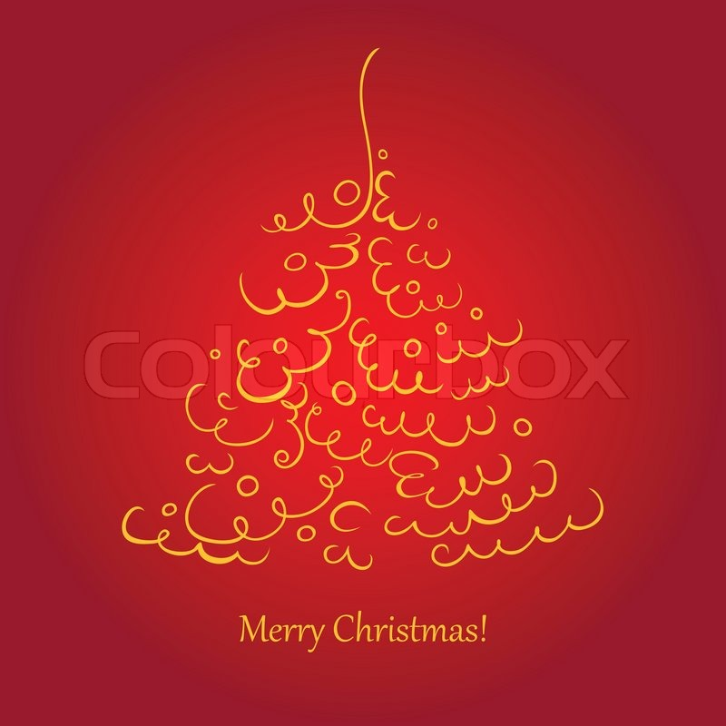 A Square Christmas Card With A Scroll Tree Stock Vector