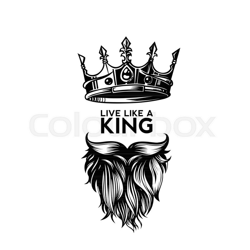 King crown, moustache and beard on white background logo