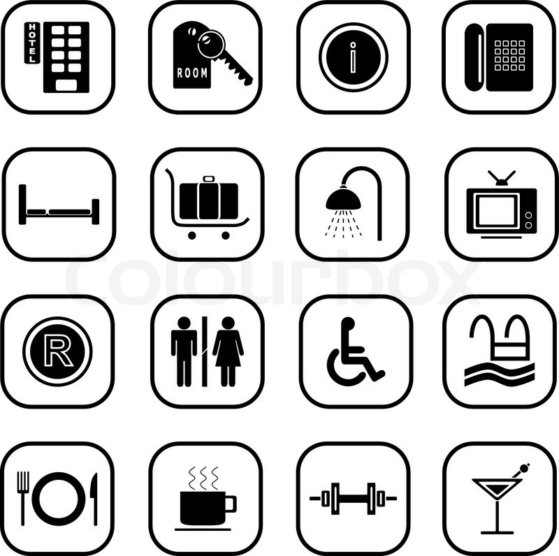 Set of computer icons related to the hotel business, B&W