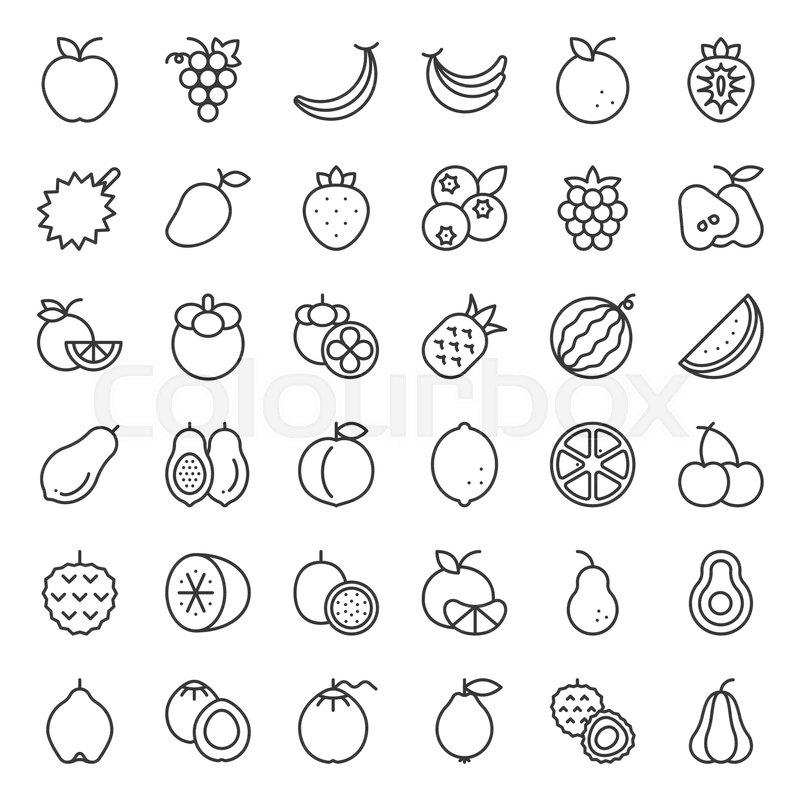 Cute fruit outline icon set, such as orange, kiwi, coconut
