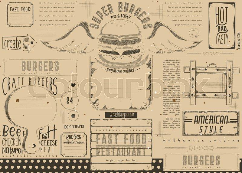 fast food drawn menu